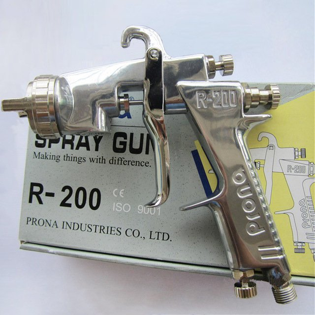 Prona R-200 manual spray gun, R200 painting gun, free shipping, with cup, 0.8 1.0 1.2 1.5 1.8 2.0 2.5mm nozzle size to choose