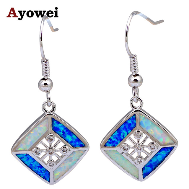 Square Shape Design Drop Earrings for Women Wholesale & Retail Blue White Fire Opal Silver Stamped Fashion Jewelry OE531A