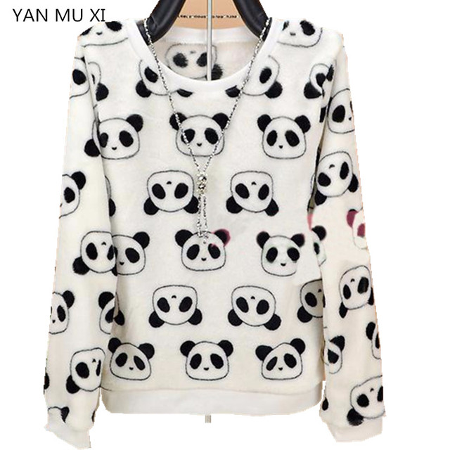 YAN QING HUAN spring winter cute panda Harajuku Women's sweater high quality soft flannel ladies sweater pullover