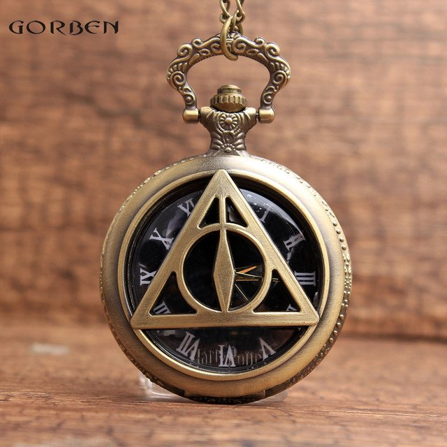 Bronze Unique  the Deathly Hallows Character Dial Quartz Pocket Watch Analog Pendant FOB Chain Mens Womens Watches Gift P24