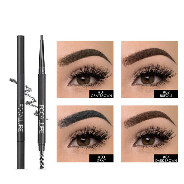 FOCALLURE NEW ARRIVAL Rotation 3 in 1 Auto Brows Pen Long-Lasting Eye Brow Pen with Brush Fashion&HOT Eyebrow pencil&Powder Pen