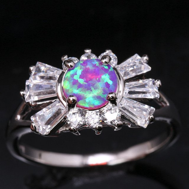 Wedding Ring Pink Fire Opal Solitaire  Silver Plated Argent Jewelry Us# Size 6 7 8 9 SF1265