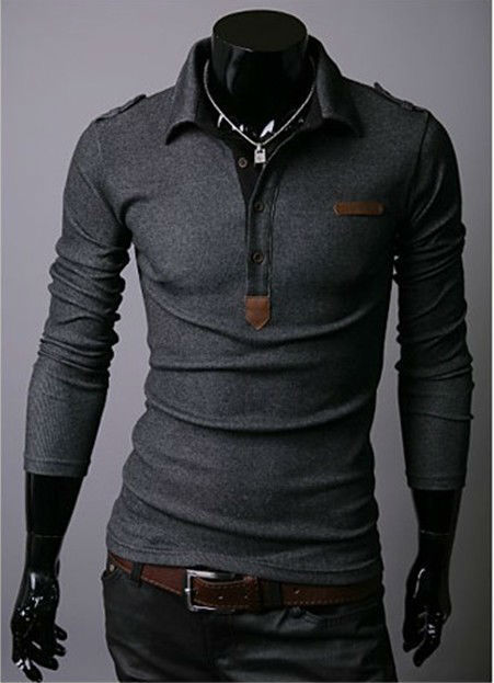 Hot fashion Solid color lapel long sleeve T-shirts for men 2017 new pullover Badges design men's tops size M-XL