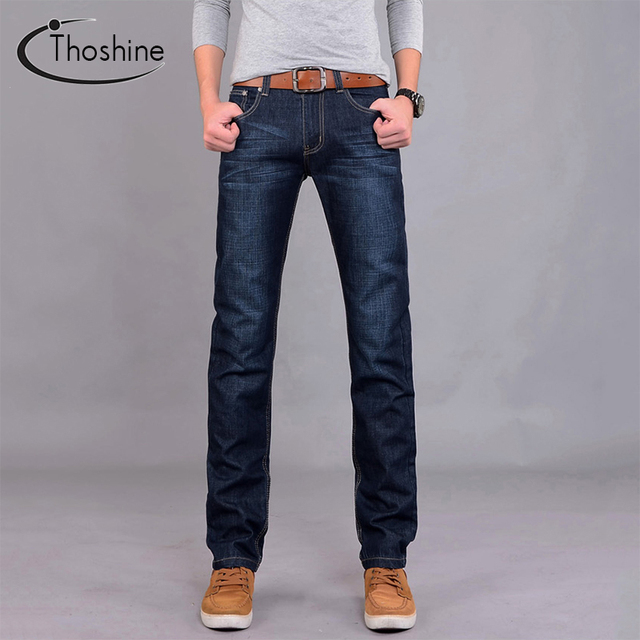Thoshine 2017 Brand Men Straight Jeans Summer Cotton Casual Pant Full Sleeve Fashion Superior Denim Trousers Mens Jeans Patterns