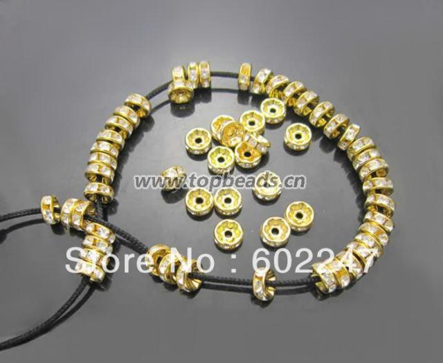 Free Shipping 6mm, Silver Plated Copper With Crystal Rhinestone Round Spacer Bead, 500pcs/lot