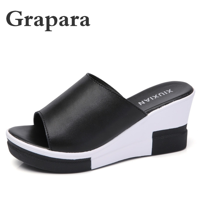 Summer Slippers Women Shoes Woman Platform Shoes Female Slides Leather Wedges High Heels Casual Slippers Ladies Shoes Grapara