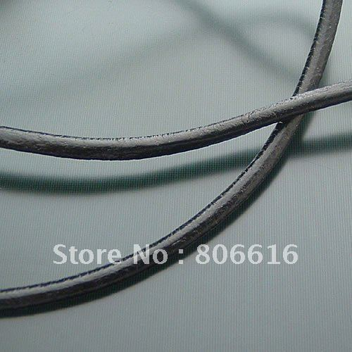 2MM 20Yards High Grade Round Black 100% Genuine Leather Ropes Cord Line Wire Jewelry Findings