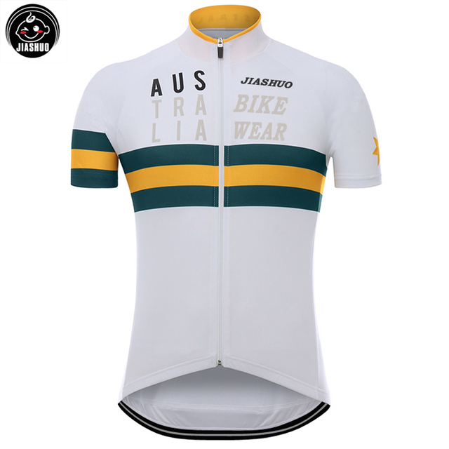 NEW 2017 JIASHUO AUSTRALIA WHITE Classical pro RACE Team Bicycle Bike Cycling Jersey / Wear / Clothing / Breathable Customized