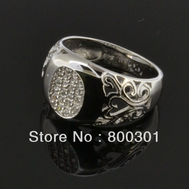 2017Hot Selling Luxury Men's Silver Ring Shiny Cubic Zirconia Wedding Party Jewelry Beautiful Birthday Wholesale