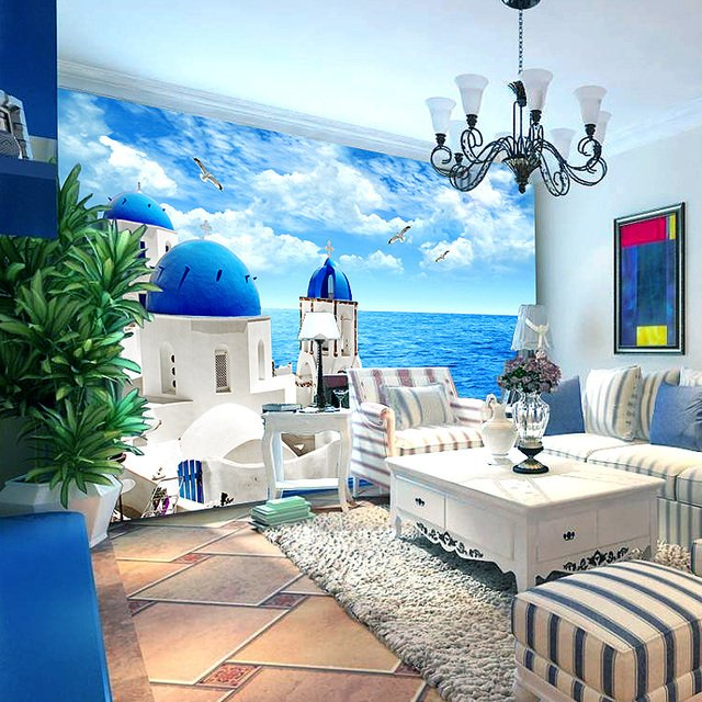 3D Mediterranean scenery white castle mural living room bedroom TV background wallpaper