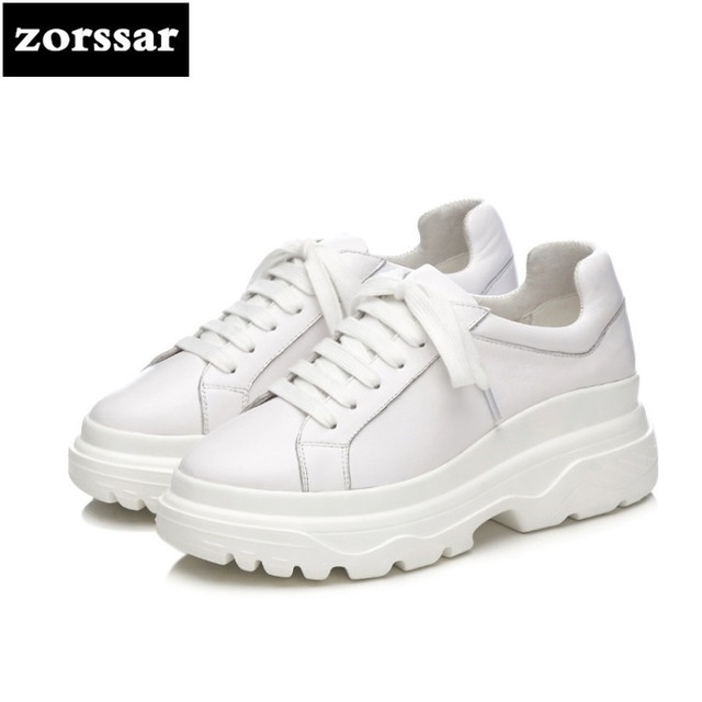 {Zorssar} 2018 New Genuine Cow Leather womens shoes casual flat platform creeper high quality Women sneakers Casual Flats shoes