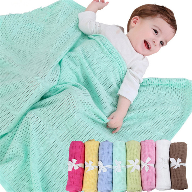 Summer Spring Baby Blanket Newborn Swaddle Wrap Crochet Blankets Super Soft Cotton Knit Stretch Prop Crib Sleeping Bed Supplies