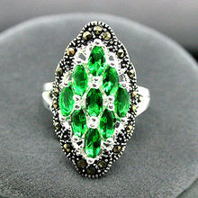 Free shipping Art 12X24mm 925 Sterling Silver Green  Marcasite Ring Size 7/8/9/10