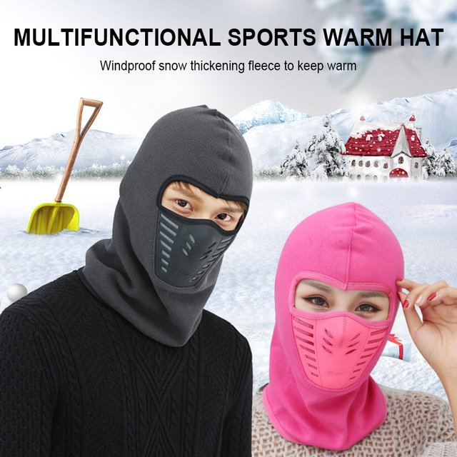 Winter Windproof Hiking Caps Warm Thermal Fleece Balaclava Face Beanies Ski Bike Motorcycle Neck Warmer Helmet Hat For Men Women