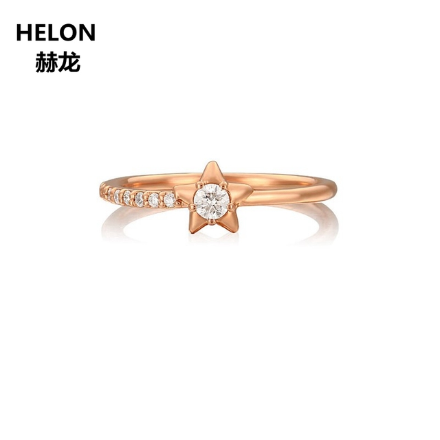 0.07ct SI/H Natural Diamonds Engagement Wedding Ring Solid 14k Rose Gold Anniversary Band Fine Jewelry Women Ring