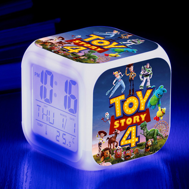 Toy story 4 buzz lightyear Woody Jessie Alarm Clocks Glowing LED Color Change Digital  Clock For kids room Multi-function toys