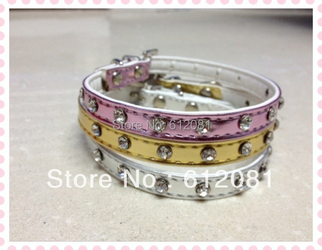 Free shipping pet collar dog puppy cat collar luxury bling faux leather with one row rhinestone