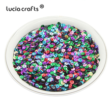 Lucia crafts 5mm 20g/bag Mix Flake Rainbow Cup Sequin Confetti Sewing Paillette DIY For Garment Bags Scrapbook D0803