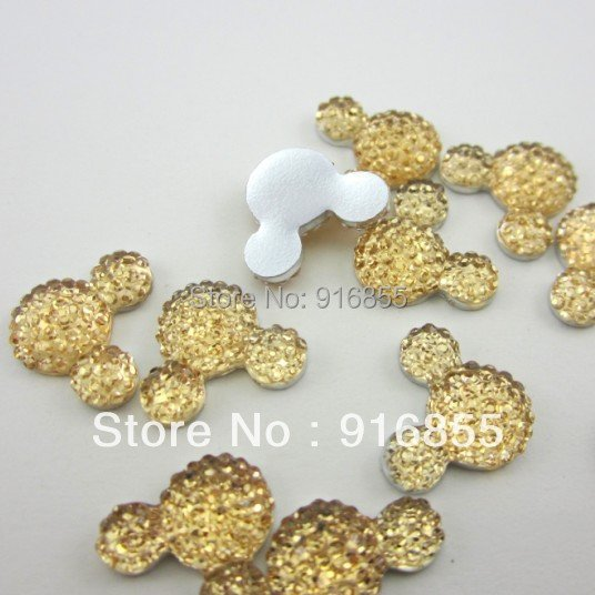 Free shipping 30pcs/lot 16*12mm Champagne Mickey Head Shape Cartton Flatback Resin Rhinestone DIY Decoration