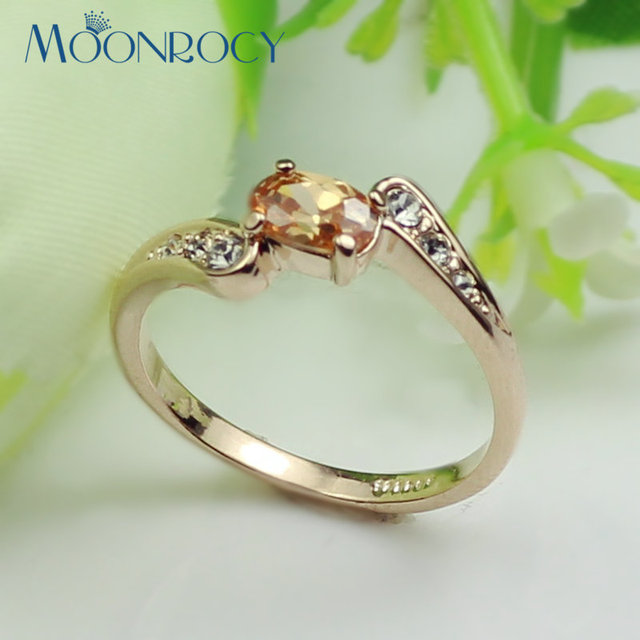 MOONROCY Free Shipping jewelry Cubic Zirconia rose Gold Color Crystal Rings wedding bijouterie Girlfriend for women Gift