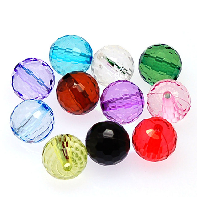 Miasol 8mm Transparent Acrylic Faceted Round Spacers Beads Disco Ball For Diy Handmade Jewelry Making Accessories