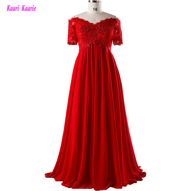 Formal Red Plus Size Evening Dresses Long 2020 Evening Party Gown Sweetheart Chiffon Appliques Beading Lace Up Women Prom Dress