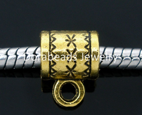8SEASONS 100 golden tone Cup Bails Beads Fit Charm Bracelets 8x6m(B05197)