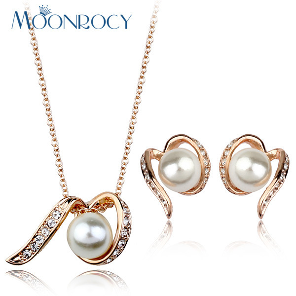MOONROCY Free Shipping Fashion Rose Gold Color Imitation Pearl Crystal Necklace and Earring Jewelry Set for women Gift