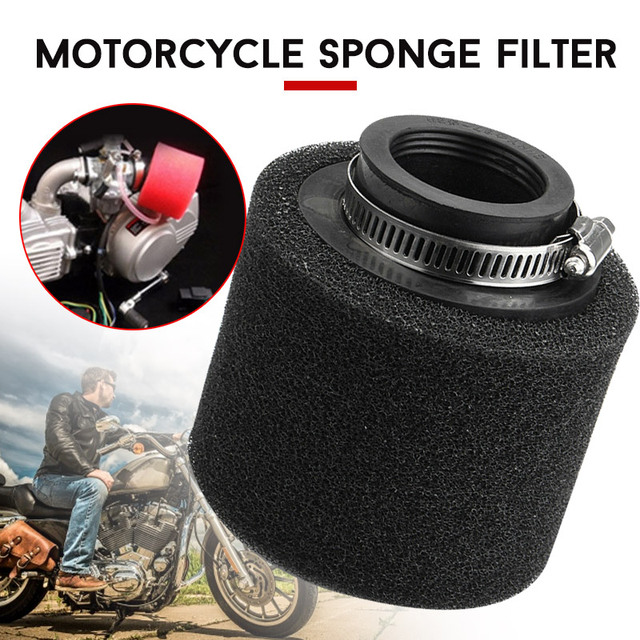 Vehemo 40mm Straight Mouth Motorcycles Oil Filter Breather Oil Filter Car Oil Filter Universal Portable Round Sponge