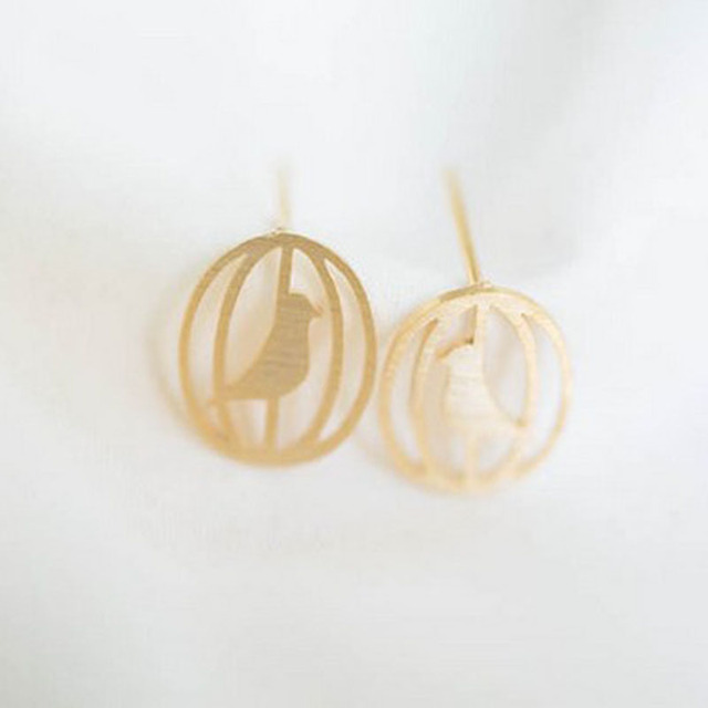 Cute Earring A Bird In The Cage Stud Earrings Wholesale Free Shipping