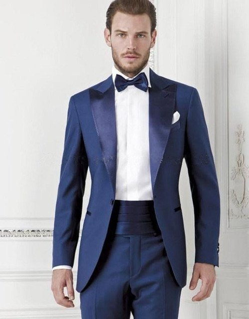 New Custom Made Blue Tuxedos Men's Suits Groomsmen Mens Wedding Suits Prom Suits (Jacket+Pants+Tie)