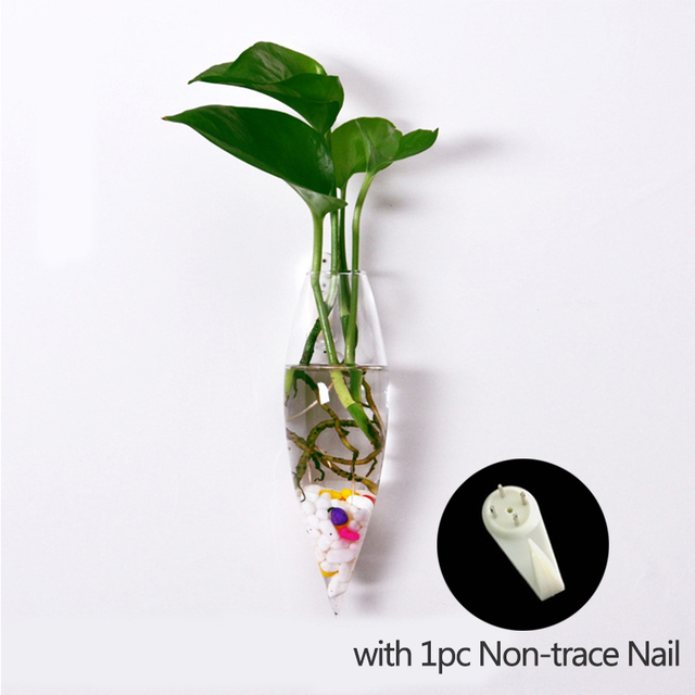 Wall Hanging Water Planting Flower Vase  Ice-Piton Glass Vase Wall Clear Flowerpot Tank Transparent Vases with Non-trace Nail