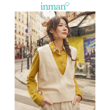 INMAN Spring Autumn Solid Deep V-neck Sleeveless All Matched Women Sweater Short Snit Vest