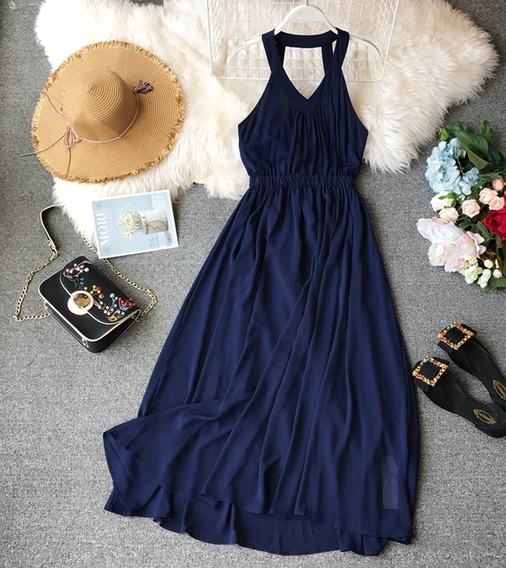Women Beach Summer 2019 New Seaside Holiday Backless Dress  Sexy Dresses Party Night Club Dress Vestidos E845