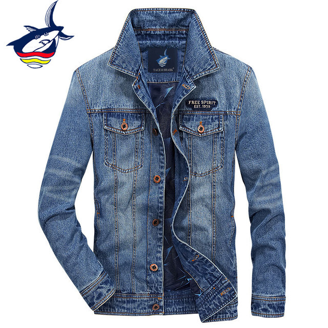 Tace & Shark Brand Denim Jacket Men Clothes 2018 New Fashion Classic Denim Coat Embroidery Spring Autumn Jeans Jackets