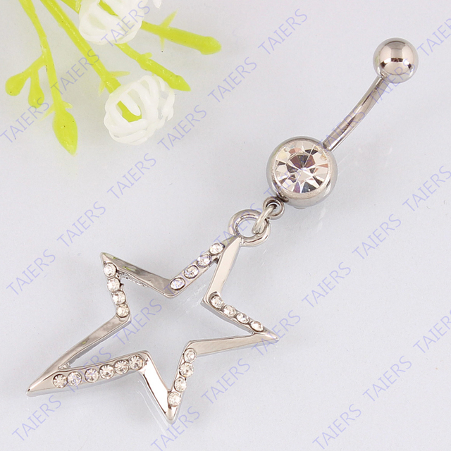 Belly bar dangle Five-pointed star body piercing jewelry Navel ring belly button ring 14G 316L surgical steel bar Nickel-free