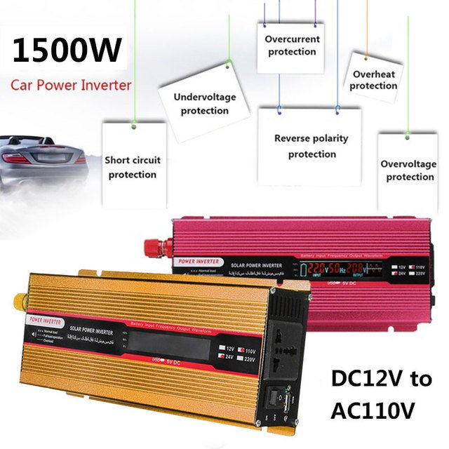 DC12V To AC220V 1500W Peak Vehicle Car Inverter High Performance Outdoor Auto Inverter Portable LED Solar Power Inverter