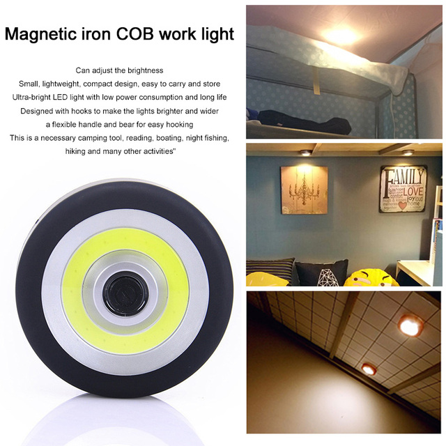 Portable Tent Work Light COB LED Magnet Black Flashlight Lantern LAMP Torch Outdoor Flood Travel Night Light