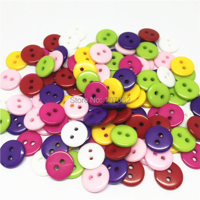 1000Pcs/lot Mixed 11mm Round Resin Shirt Buttons Flatback Bouton Embellishments For Sewing Scrapbooking