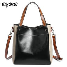 2018 Panelled Cowhide Leather Bags Ladies Genuine Leather Bags Women Handbags Casual Tote High Quality Large Capacity Female Bag