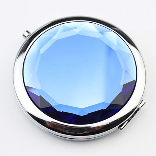 1pc Women Foldable Makeup Mirrors Lady Cosmetic Hand Folding Portable Shipping Compact Pocket Mirror Drop Crystal