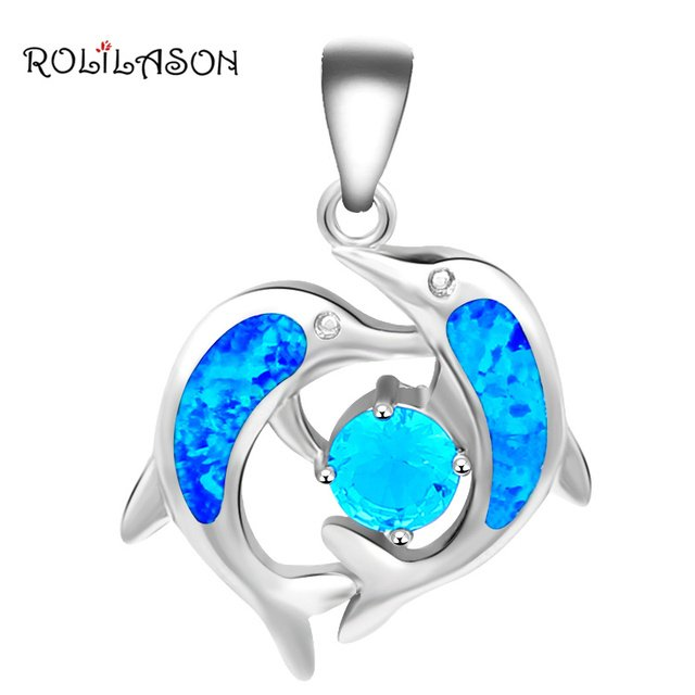 New design Dolphin style Wholesale Retail Top Quality Blue Fire Opal Silver Necklace Pendants Fashion jewelry OP410