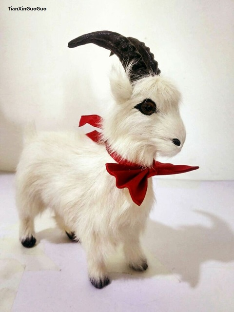simulation white sheep hard model 17x16cm polyethylene&furs cute bowtie goat handicraft home decoration gift s1576
