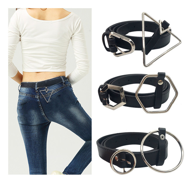 Women Waist Belt Lovely Women's Big Ring Decorated Belts Female Hot Newest Design Fashion Gold Pin Buckle Solid PU Leather Strap