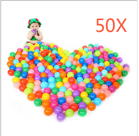 50pcs Colorful Ball Soft Plastic Ocean Ball Funny Baby Kid Swim Ball Pit Toy Water Pool Ocean Wave Ball Random Color @Z58