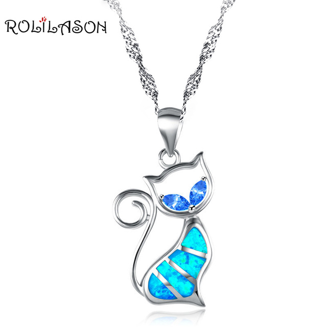 Wholesale Retail Designers Cat Blue fire Opal Fashion jewelry Silver Stamped Necklace Pendant Gifts for lady OP448