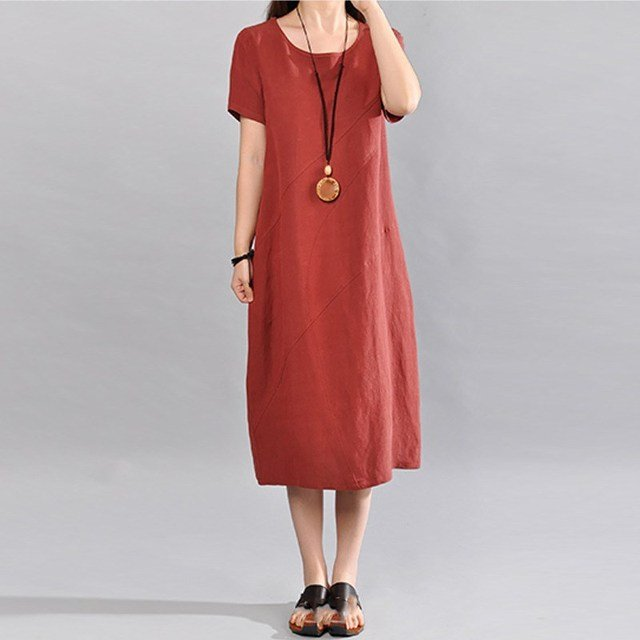 2019 New Summer Women Cotton Linen Casual Dress Casual Solid Color Round Neck Loose Dress Short Sleeve Vintage Dress