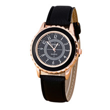 Quartz-Watch Clock Ladies Watch Montre Femme Fashion Womens Geneva Faux Leather Band Strap Analog Quartz Wrist Watches Clock