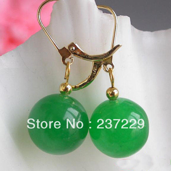 Wholesale price FREE SHIPPING ^^^^stone Earrings Natural Green stone Round 14mm stone Earrings Dangle Earring Bridesm