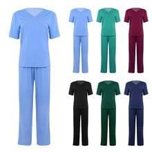 2Pcs Unisex Adults Medical Doctor Nursing Scrubs Costume Uniform Suits V-neck Short Sleeves Top with Elastic Waisted Long Pants